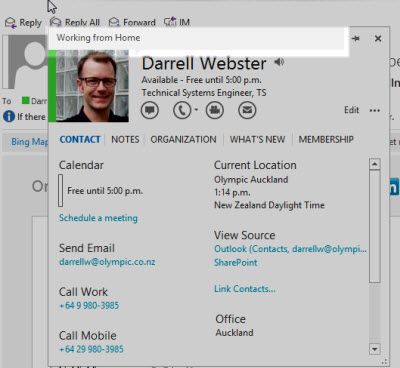 The Lync contact card with status note displayed