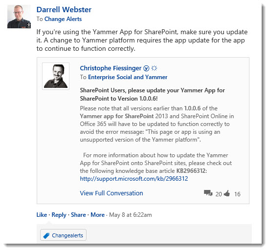 Change-Alerts-Yammer-Share-Post