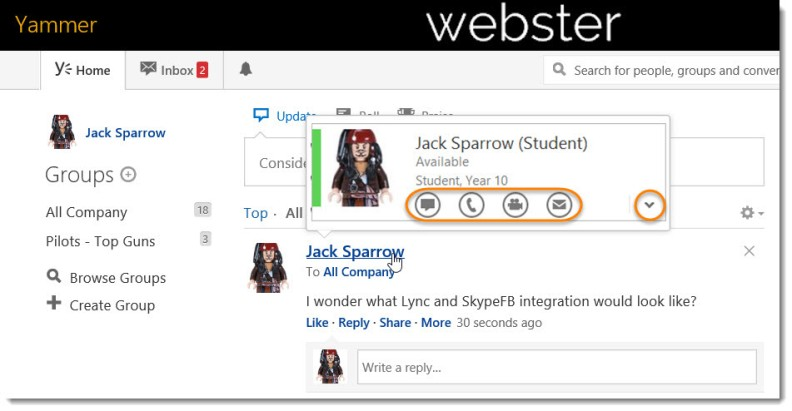 Skype for Business Contact Card in Yammer