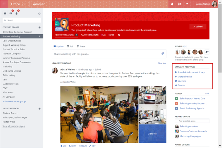 Credit: Office Blogs - https://blogs.office.com/2017/03/02/yammer-integration-with-office-365-groups-now-rolling-out/