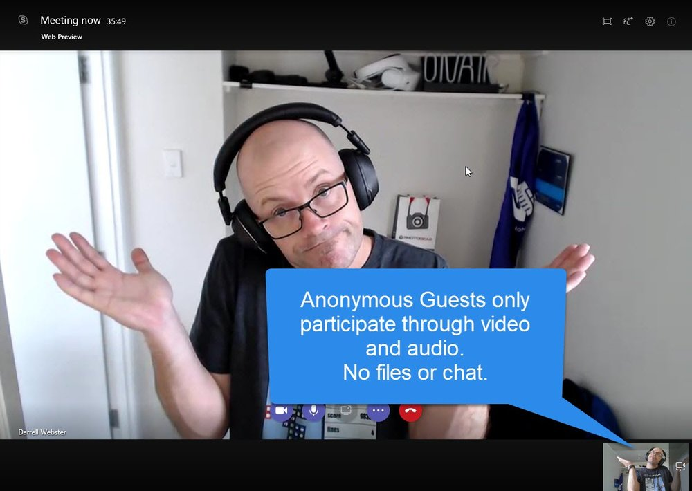 Anon meeting participant, no conversation panel. No Teams, Chat, Files, Activity...