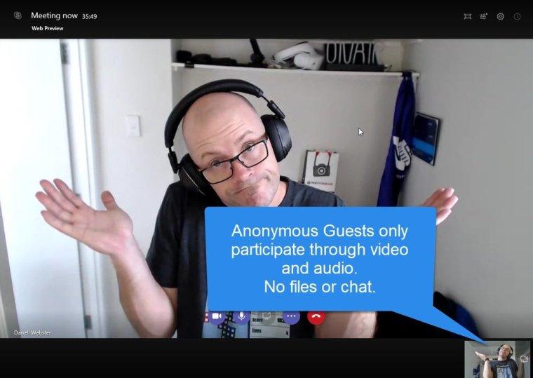 Anon meeting participant, no conversation panel. No Teams, Chat, Files, Activity...