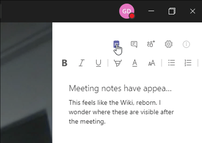 Meeting Notes button